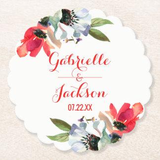 Coral Red Poppy Floral Monogram Wedding Paper Coaster