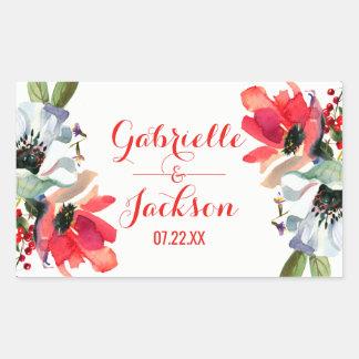 Coral Red Poppy Floral Wedding Monogram Sticker
