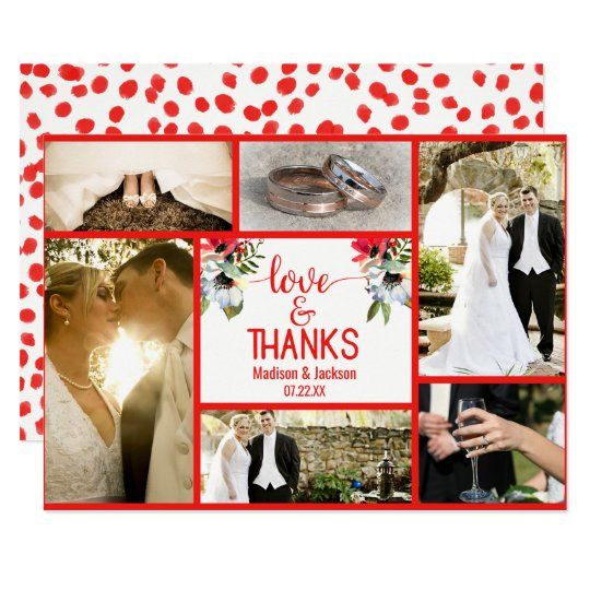 Coral Red Poppy Floral Wedding Thank You Photo Card