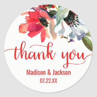 Coral Red Poppy Watercolor Floral Wedding Favor Classic Round Sticker