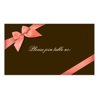 Coral Red Ribbon Guest Table Place Card Business Card