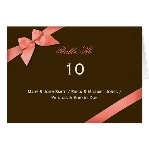 Coral Red Ribbon Table Place Card