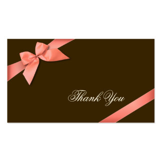 Coral Red Ribbon Thank You Minicard Business Card