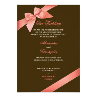 Coral Red Ribbon Wedding Announcement 2