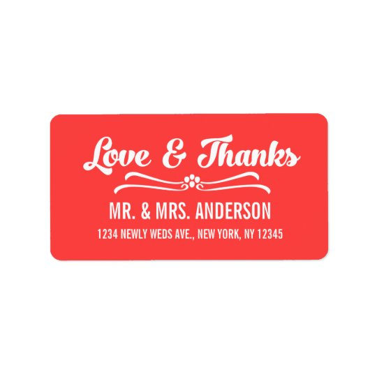 Coral Red Script Wedding Thank You Address Label