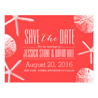 Coral Red Starfish & Sand Dollar Save the Date Postcard