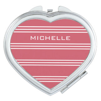 Coral Red Stripes custom monogram pocket mirrors Mirrors For Makeup