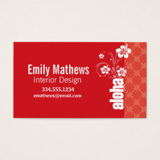 Coral & Red Swirl; Aloha Business Card