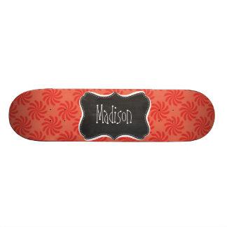 Coral & Red Swirl; Vintage Chalkboard Skate Board Decks