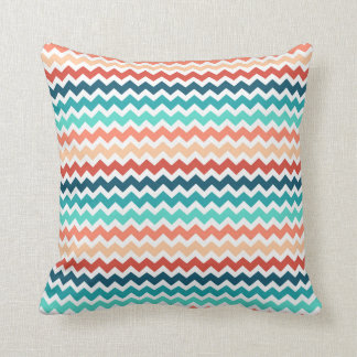 Coral Red Teal Chevron Decorative Pillow