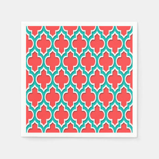 Coral Red Teal White Moroccan Quatrefoil #4DS Paper Napkin