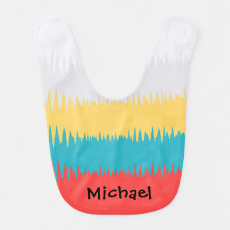 Coral Red Turquoise Blue Yellow Gray White Stripes Bib