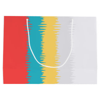 Coral Red Turquoise Blue Yellow Gray White Stripes Large Gift Bag