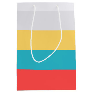 Coral Red Turquoise Blue Yellow Gray White Stripes Medium Gift Bag