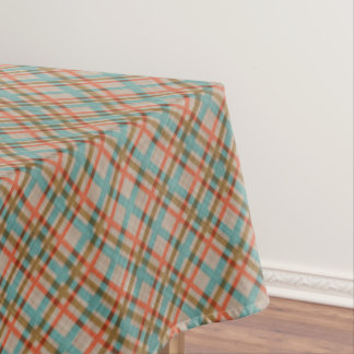Coral Red Turquoise Diamond Argyle Plaid Pattern Tablecloth