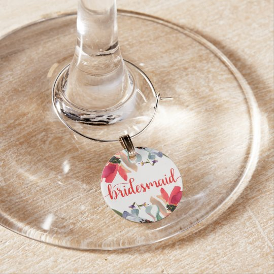 Coral Red Watercolor Floral Bridesmaid Wine Glass Wine Charm