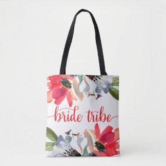 Coral Red Watercolor Floral Wedding Bride Tribe Tote Bag
