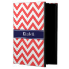 Coral Red White LG Chevron Navy Blue Name Monogram Powis iPad Air 2 Case