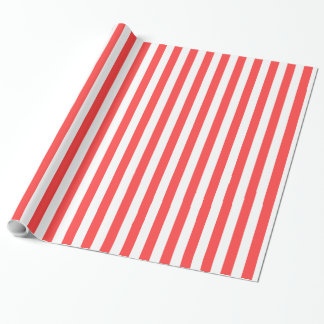 Coral Red White LG Stripes DIY BG Wrapping Paper