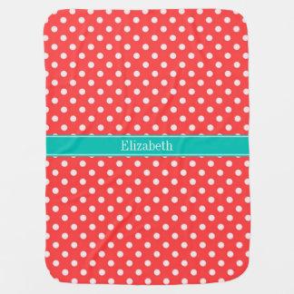 Coral Red, White Polka Dots Teal Name Monogram Receiving Blanket