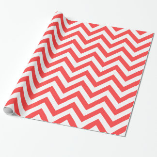 Coral Red White XL Chevron ZigZag Pattern Wrapping Paper