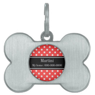 Coral Red, Wht Polka Dots Black Name Monogram Pet Name Tag