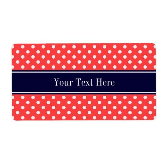 Coral Red, Wht Polka Dots Navy Blue Name Monogram