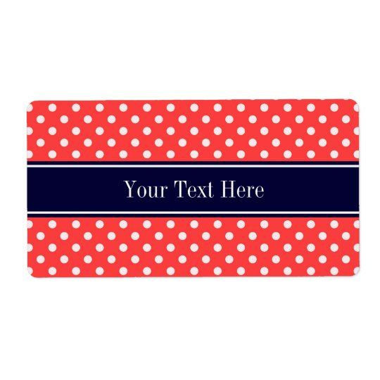 Coral Red, Wht Polka Dots Navy Blue Name Monogram Shipping Label