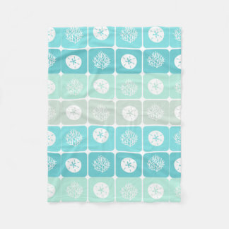Coral Reef and sand dollar aqua beach  patterns Fleece Blanket