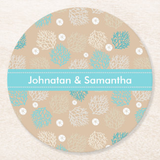 Coral Reef and sand dollar beach theme personalize Round Paper Coaster
