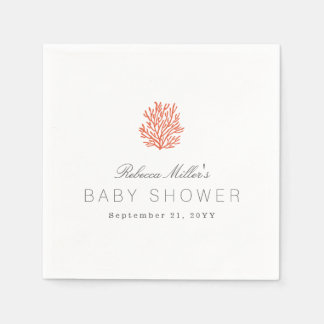 Coral Reef Baby Shower Disposable Napkins