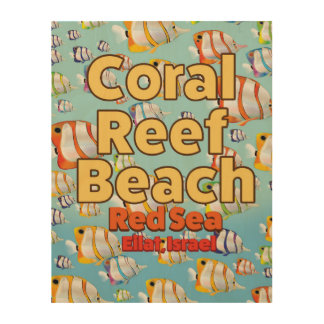 Coral reef Beach Eilat, Israel Wood Canvas