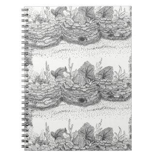 Coral reef ink illustration spiral notebook