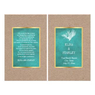 Coral reef teal sand beach wedding folded program flyer