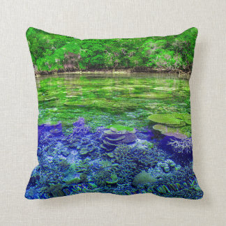 Coral Reef Tropical Coastline Throw Pillow