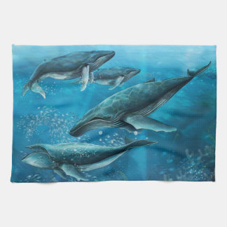 Coral Reef Whales Kitchen Towel