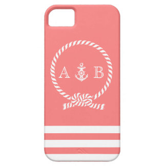 Coral Rope and Anchor Monogram iPhone 5 Covers