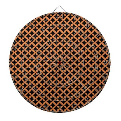 Coral Rose And Black Graphic Art. Mesh Pattern Dart Board