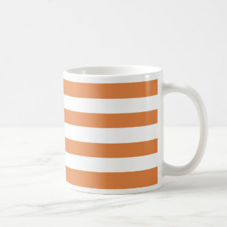 Coral Rose And Horizontal White Large Stripes Coffee Mug