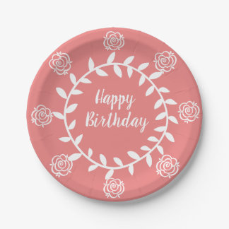 Coral Rose Circle Happy Birthday Paper Plate