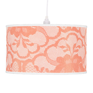 Coral Rose Lace Glam White Royal Glam Pendant Lamp