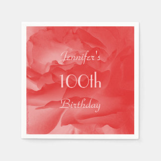 Coral Rose Paper Napkins, 100th Birthday Paper Napkins
