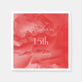 Coral Rose Paper Napkins, 15th Birthday Disposable Napkin