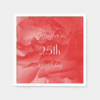 Coral Rose Paper Napkins, 25th Birthday Disposable Napkins