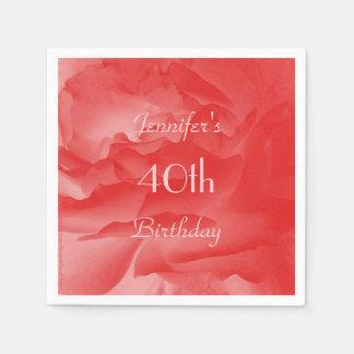 Coral Rose Paper Napkins, 40th Birthday Disposable Napkin