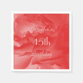 Coral Rose Paper Napkins, 45th Birthday Disposable Napkin