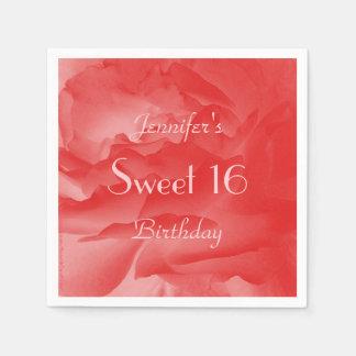 Coral Rose Paper Napkins, Sweet 16 Birthday Paper Napkins