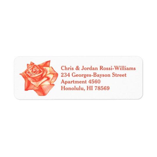 Coral Rose Simple Elegant Summer Wedding Return Address Label