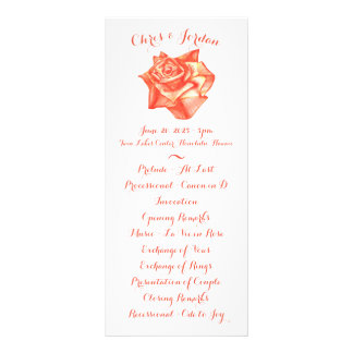 Coral Rose Simple Elegant Wedding Ceremony Program