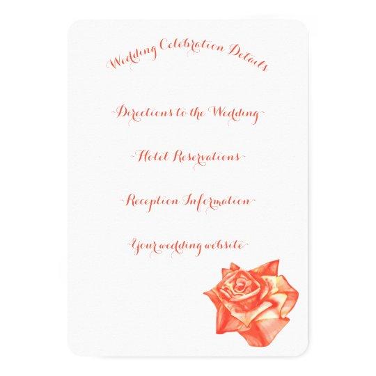 Coral Rose Simple Elegant Wedding Details Card
